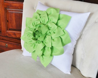 Chartreuse Green Dahlia Throw Pillow Green Flower on White Accent Pillow