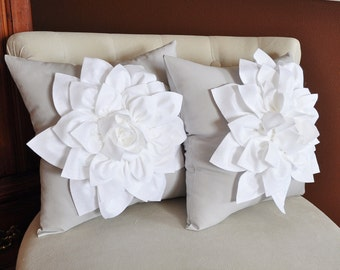 two decorative pillows flower pillows white dahlias on gray pillows 14 x 14 toss pillow - White Decorative Pillows