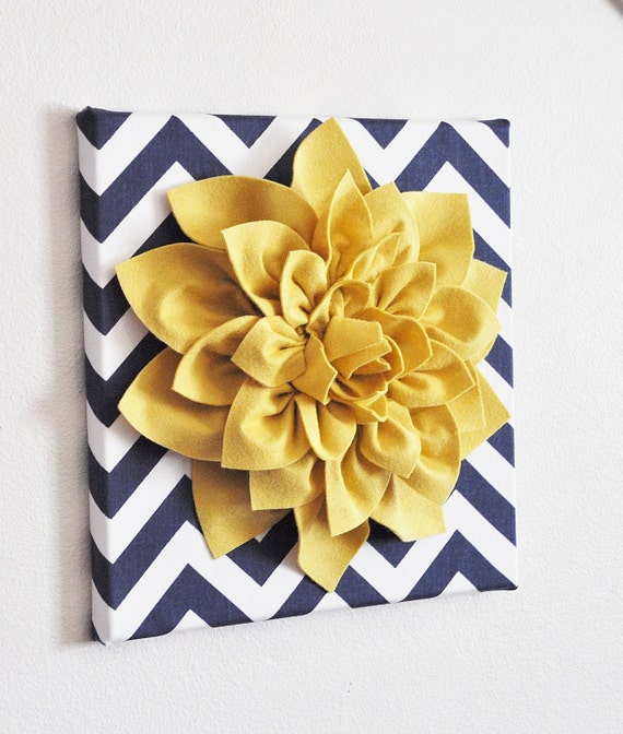 Yellow Flowers Wall Decor : Items similar to wall flower mellow yellow dahlia on navy