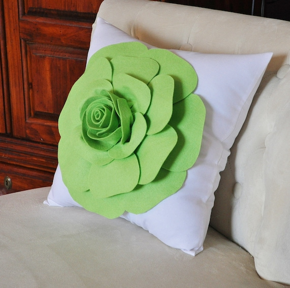 Chartreuse Green Throw Pillow Green Rose on White Accent Pillow