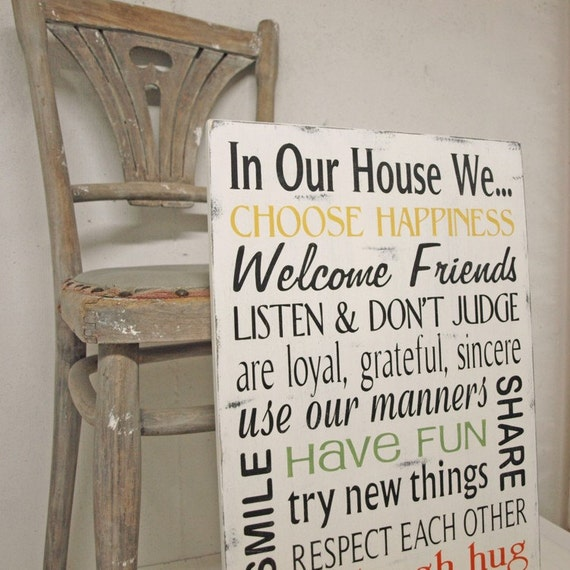 In Our House We Home Decor Family Rules 12x24 By