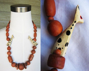 SALE chunky wood bead wild cat necklace 80's 90's