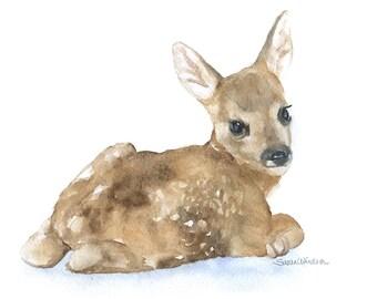 Watercolor Painting Deer Fawn Lying Down Fine Art Giclee Print - 7 x 5 - Nursery Art