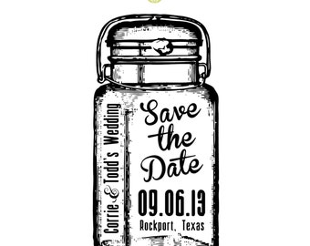Antique Mason Jar  --  SAVE THE DATE  --  Rubber Stamp  --  2 x 4 inches