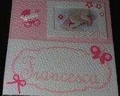 Handmade photo album with frame white pink cotton  paper for newborn or baptism baby girl original gift scrapbook