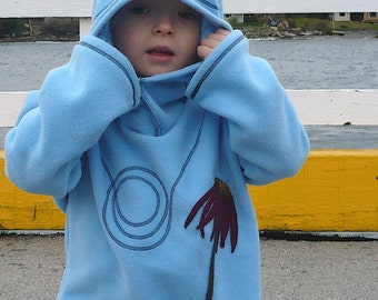 Child's Fleece Hoodie with Cone Flower Applique You choose size and color M / L