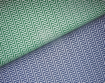 "Fabric Finders Chevron Duo, Chevron in Kelly Green and Navy, Extra Wide Fabric, 60"" Width, Full Yard Set, 2 Yards Total"