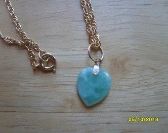 Jade Necklace, Jade Heart Pendant, Necklace Green Jade, Chinese Jade Heart,  Delicate Heart