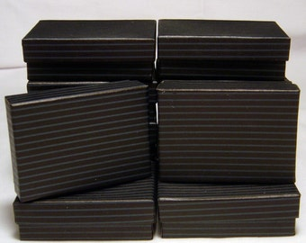 JEWELRY GIFT BOXES Black Pinstripe 3 x 2 x 1 (12)