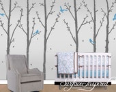 Wall Decal Nursery Tree Decals With Birds - Set of 6 trees
