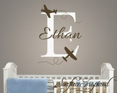 Nursery Wall Decal Ethan with airplanes name decal. Custom made airplane wall decals. 1005