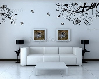 Floral wall decal girls wall decals flower vines decals- Prosperous, TV Background(Extra Large) - Wall art Vinyl Removable decals murals