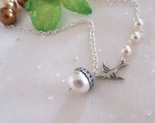 Acorn Statement Necklace, Acorn Pendant, Lariat, Pearls Necklace, Sparrow Necklace, White Pearl Necklace, Gift