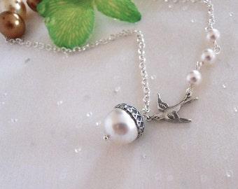Acorn Statement Necklace, Acorn Pendant, Lariat, Pearls Necklace, Sparrow Necklace, White Pearl Necklace, Gift