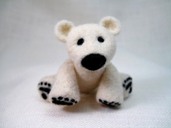 Polar Bear Sculpture, Posable and Jointed Animal, Needle Felted White Wool, Felted Animal for Charity
