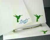 Stationery Handmade Flat Card Set Hummingbird With Envelopes Stationary