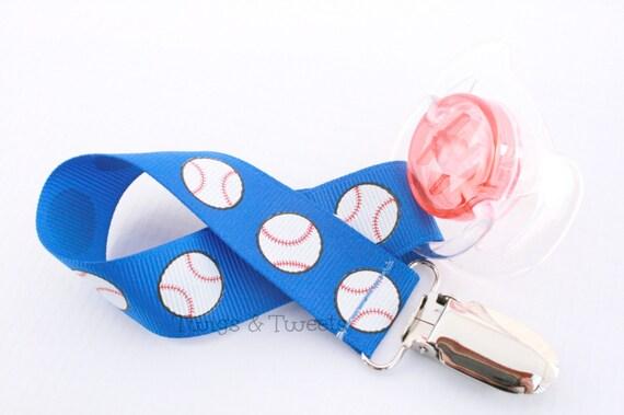 Baseballs on Blue- Universal- Pacifier clip or binky holder