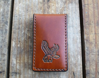 Leather Money Clip with  Swooping Eagle