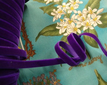 "15 yards 3/8"" width ( 10 mm )  charm elegance with rich and luxurious purple velvet ribbon trim (made in Switzerland)"