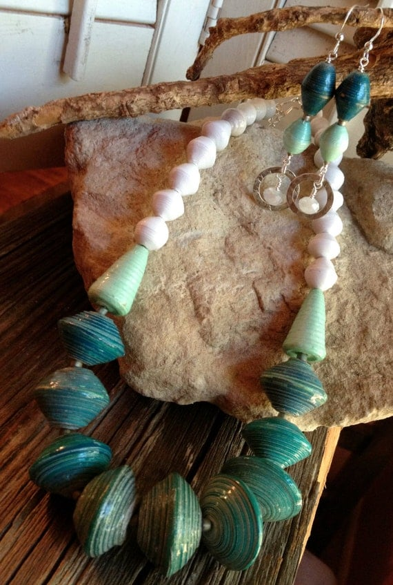 Beautiful mint & teal paper bead necklace earring set Beads