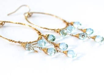 Blue Topaz Earrings - Chandelier Earrings - Blue Stone Drop Earrings - 14K Gold Fill Handmade Blue Topaz Hoop Earrings - November Birthstone