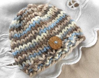Newborn Boy Beanie Hat Photo Prop Hat stripe baby boy hat blue brown Knit