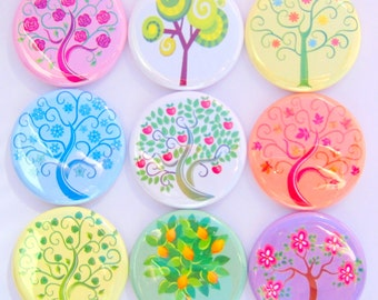 Magnets - Seasons of Trees - Set of Nine 1.25 Inch Button Magnets Packaged in a Custom Box