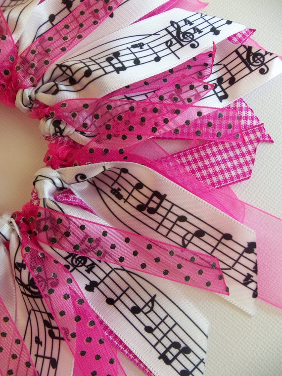Pink And Black Polka Dot Sheet Gingham Music Cheer Style Ribbon Spray Ponytail Holder Hairbow Ribbon by Petite Personalities on Etsy.com