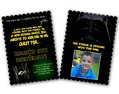 INSTANT DOWNLOAD -  Luxe Birthday Invitation Photoshop Psd Photo Card Template Photographers - Star Wars - 0576