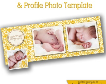 INSTANT DOWNLOAD - Facebook timeline cover photoshop template and coordinating profile thumbnail - 0702