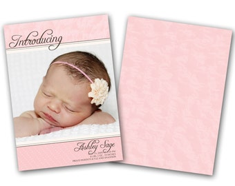 INSTANT DOWNLOAD - Birth announcement photo card template, 5x7 card - 0159