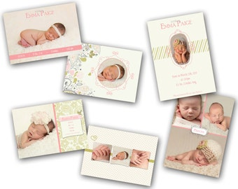 INSTANT DOWNLOAD - Birth announcement photo card templates, 3 pack - 0786-8