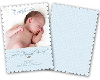 INSTANT DOWNLOAD - Birth announcement photo card template, Luxe card - 0239