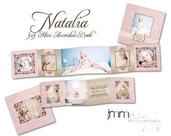 INSTANT DOWNLOAD - 3x3 Accordion mini template - Natalia - 0329FA