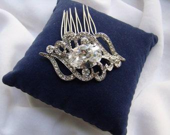 Bridal Hair Comb, Cubic Zirconia Swarovski Crystal Hair Comb, CZ Brooch Hair Comb (H31)