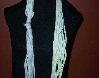 Upcycled Purple Yellow Grey Tye Dyed  T-Shirt Scarf
