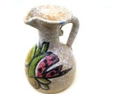 "Vintage pottery pitcher peachy moddled  mod retro mid century Toledo fruit small ewer 5"" x 3.5"""