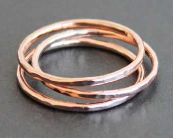 Rose Gold Vermeil Ring - Hammered Band (1 Ring) READY TO SHIP (Various Sizes)