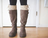Crochet Boot Cuffs in Oatmeal Tweed, Boot Toppers, Womens Boot Cuffs, Leg Warmers, Prairie Blossom Boutique