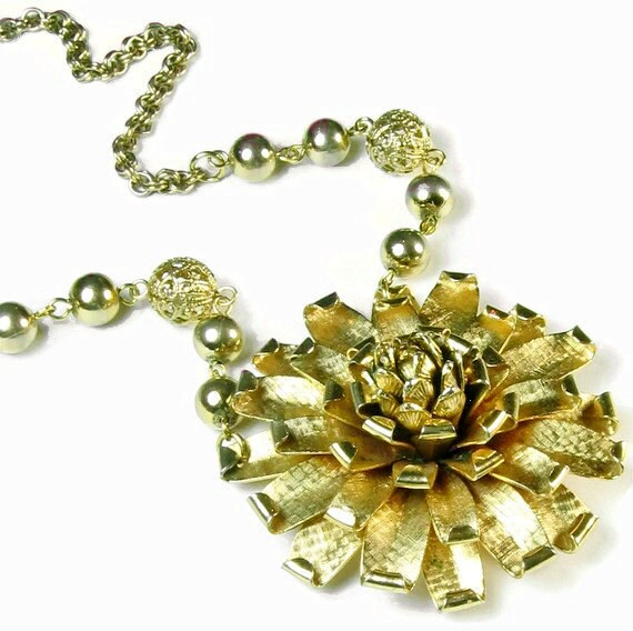 Upcycled Jewelry, Gold Flower Necklace, Zinnia, Statement Pendant