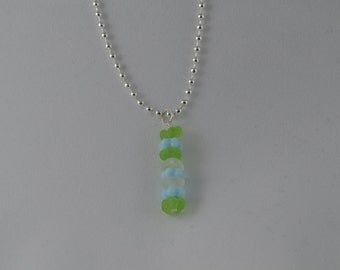 Sterling silver with light blue, lime green, & opaque white vintage glass beads, pendant necklace, 18""