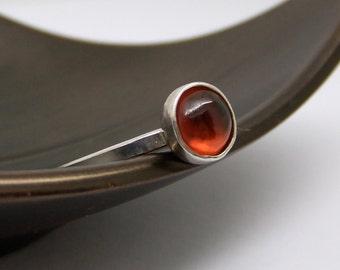 Garnet Ring - Orange Garnet Ring, January Birthstone Ring, Hessonite Garnet Ring, Silver Ring, Orange Stone Ring, Sterling Silver Ring
