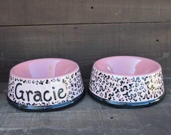 GRACIE - Pair of Custom Ceramic Pet Bowls - Food and Water - Size Medium - Pink Cheetah Print