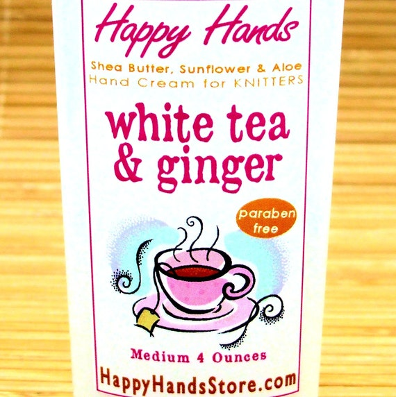 White Tea & Ginger Hand Cream for Knitters - 4oz Medium HAPPY HANDS Shea Butter Scented Hand Lotion