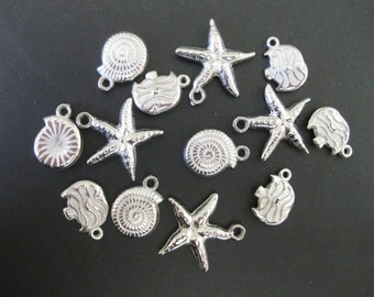 DESTASH Silver Seashell & Fish Charms