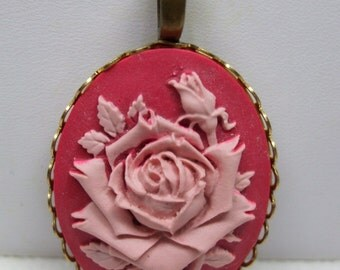 Vintage Cameo Rose Bud Necklace-Available in Two colors Reproduction