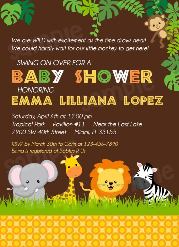 Jungle Theme Baby Shower Invitation Templates is awesome invitation design