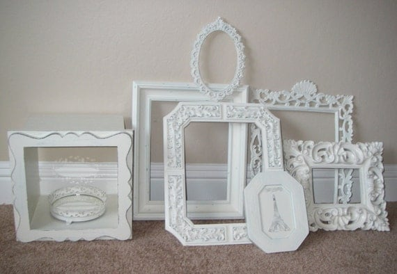 Picture Frame Collection Frames Baroque Vintage White Mantle