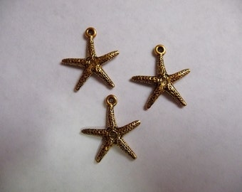SALE!! Charm, Antique, Gold Plated, Starfish, 22x19mm, Pkg Of 3  SALE!!