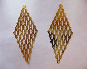 Focal, Finding, Lazer Lace, Gold, Brass, Earwire, 43x18mm, multi diamond, Pkg Of 6